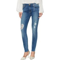 7 for All Mankind 7 for All Mankind Women's Gwenevere Mid Rise Skinny... ($109) ❤ liked on Polyvore featuring jeans, multi, ripped blue jeans, distressed skinny jeans, mid-rise jeans, denim skinny jeans and faded skinny jeans