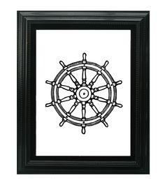 LINOCUT PRINT - Black Captain's Wheel - Rudder