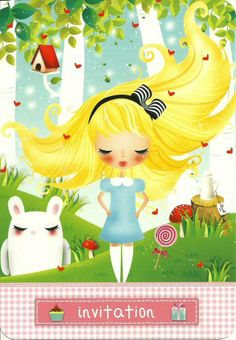limoon invitation: Alice in Wonderland esque (Alice and the white rabbit)