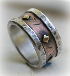 mens wedding band - rustic fine silver copper and brass - handmade artisan designed wide band ring - customized
