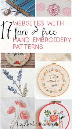 floral embroidery A great round up of 17 websites with loads of gorgeous and free hand embroidery patterns. Beautiful floral embroidery patterns and super cute cross stitch! Pattern Floral, Floral Embroidery Patterns, Learn Embroidery, Hand Embroidery Stitches, Crewel Embroidery, Hand Embroidery Designs, Embroidery Techniques, Ribbon Embroidery, Cross Stitch Embroidery