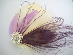 Wedding Bridal Ivory Purple Lilac Peacock by exquisitecreations2u, $28.00