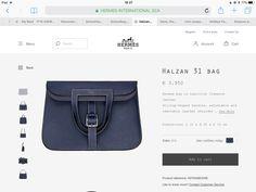 Hermès Halzan 31 Bleu Indigo/Bleu Nuit