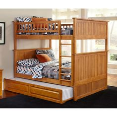 Atlantic Furniture Nantucket Twin over Twin Bunk Bed with Raised Panel Trundle Bed in Caramel Latte (Color), Brown Bunk Bed With Trundle, Full Bunk Beds, Bunk Beds With Stairs, Kids Bunk Beds, Full Bed, Full Full, Loft Beds, Bed Stairs, Bunk Beds With Storage