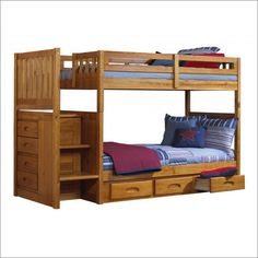 Low height bunk bed with stairs & storage