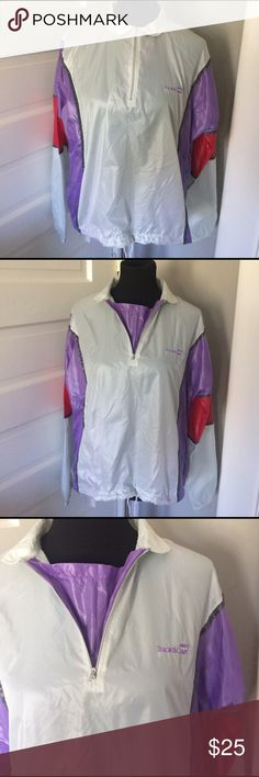 "Vintage Track & Court Windbreaker Nylon Top Measures 23"" across the bust. Fabulous blast from the past. EUC. Color Block classic! Vintage Jackets & Coats"