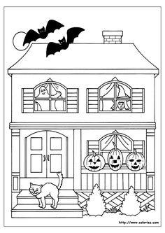 Coloriage d'une belle maison hantée par divers monstres.
