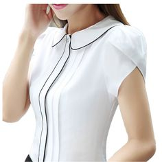 Fashion Korean Style Women Shirt Short Sleeve Patchwork Office Formal Ladies Blusas Feminina White Blue Color 2017 Summer Tops - New Site Kurti Neck Designs, Blouse Designs, Sleeves Designs For Dresses, Cute Blouses, Elegant Outfit, Trendy Tops, Office Fashion, Women's Summer Fashion, Work Attire