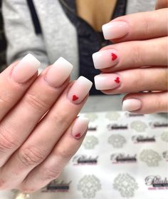 Happy Valentine's Day!❣️Short and sweet ombré nails with ❤️ to celebrate the day of L❤️VE❣️ Ombre French Nails, Red Ombre Nails, Almond Nails French, Burgundy Nails, J Nails, Pink Nails, Glitter Nails, Acrylic Nail Designs, Acrylic Nails