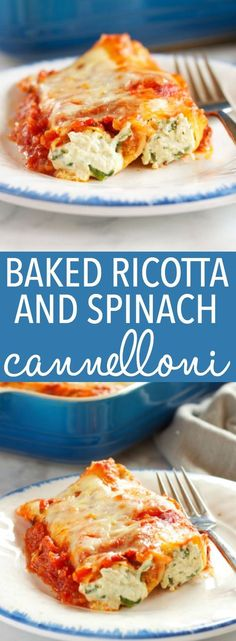 This Baked Ricotta and Spinach Cannelloni (Manicotti Pasta) is made with three delicious cheeses and it's the perfect easy comfort food recipe that's also vegetarian! It's a pasta lover's dream recipe! Recipe from thebusybaker.ca!