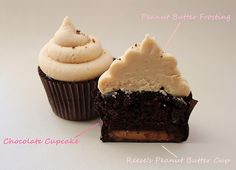 HEAVEN....Reese's Chocolate Peanut Butter Cupcakes with Peanut Butter frosting.
