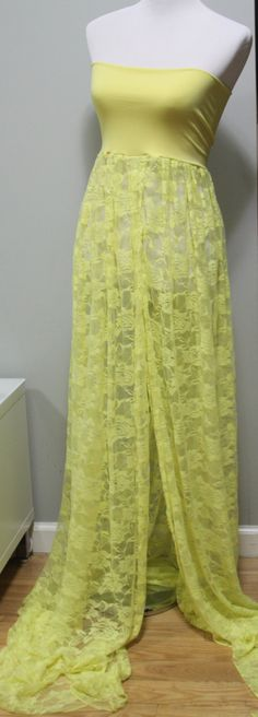Lace Maternity Gown / Dress  Photo Prop Yellow by SilkFairies, $59.00