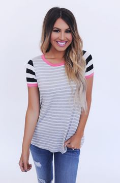 Grey Striped/Coral Detail Tee - Dottie Couture Boutique
