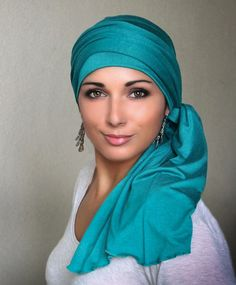 Turban Diva Emerald Teal Turban Head Wrap Alopecia Chemo Head Scarf, Hat & Scarf Set,Gift for Her, Gift for Cancer Survivor Bad Hair, Hair Day, Head Scarf Styles, Hair Styles, African Head Wraps, Turban Style, Scarf Hairstyles, Neck Scarves, Knitted Hats