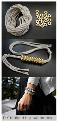 DIY hex nut bracelet. Every time I go to home depot, I look at the nuts and washers and think about making jewelry. So yeah, I need to do this.