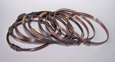 Copper Bangles Bracelets - Hammered and Oxidized - 9 Stacking Bangles - Made to Order