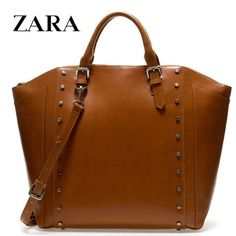 Zara Studded Tote Shopper in Brown - Shipping Cap Promotion- - TopBuy.com.au