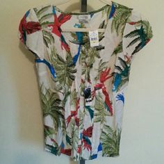 NWT Van Heusen Tropical Top Brand New Van Heusen Tropical Design Top.  Absolutely beautiful colors!  Button Down Closure.  Cap sleeves have elastic at top for ease of movement. Soft Pleating down front placket.  Great with capris or jeans!  Size small ( the p next to small is another language for small. It does not mean petite). Van Heusen Tops Button Down Shirts
