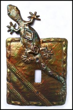 Gecko Switch Plate Covers - Iridescent Metal Switchplate, Single Metal Light Switch Covers, Haitian Steel Drum Metal Art - by SwitchPlateDecor on Etsy Decorative Light Switch Covers, Switch Plate Covers, Light Switch Plates, Drums Art, Copper Highlights, Haitian Art, Oil Drum, Steel Drum, Tropical Art