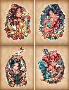 I love the combination of disney princesses and pin up art.  Tim Shumate creations.