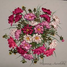 Pink flowers #ribbonEmbroidery