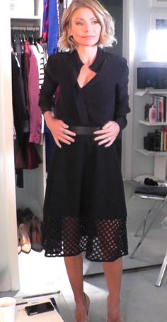Kelly Ripa in a FRAME top and Lela Rose black skirt. LIVE with Kelly and Michael Fashion Finder