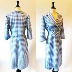 Blue 1950s dress / blue check rayon lapel collar by CTMercantile, $145.00