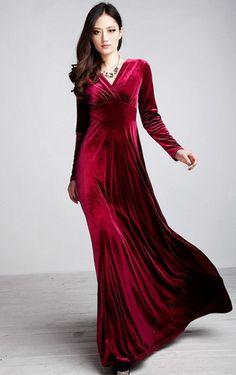 Red Long Sleeve Velvet Maxi Dress