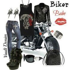 Bling Jeans for Biker Chick Biker Chick Outfit, Biker Chick Style, Biker Chick Costume, Biker Look, Biker Wear, Lady Biker, Biker Girl, Look Fashion, Fashion Outfits