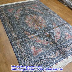 A17 5 X8 400kpsi Double Knots Persian Rug Made By Yilong Basic Color Blue Red Light Yellow Pink Purple Ect Medallion Design Fower Patt