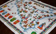 Linen Tea Towel Kitchen Sicily Map Landmarks by AstridsPastTimes, $18.99