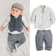 Nieuwe 2016 casual herfst baby jongen Denim vest + Plaid shirt + broek 3 stks mode peuter outfits kleding pak sets