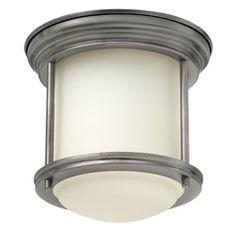 hinkley lighting hadley antique nickel flushmount light