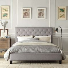 BED FRAME GREY TUFTED LINEN -- This elegant platform bed features a button-tufted headboard and durable linen upholstery. This queen-sized bed has small black wooden legs to raise it off the floor. Queen Platform Bed, Upholstered Platform Bed, Upholstered Beds, Grey Platform Bed, Bed Upholstery, Linen Headboard, Headboards For Beds, Headboard Ideas, Bed With Headboard