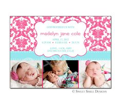 Photo Birth Announcement Baby Girl Hot Pink Turquoise Blue Damask  - Printable Digital File -  Modern. $15.00, via Etsy.