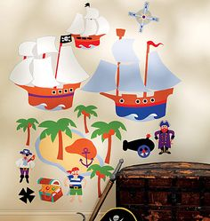 Pirate Ships & Palm Trees Wall Mural Stickers #kidsroomstore $39.99