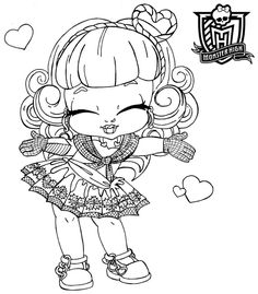 monster high pets coloring pages - Monster High Chibi Coloring Pages