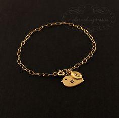 Gold Bird Bracelet . Initial Bracelet . Bird Initial Bracelet . 14k Gold Initial Charm Bracelet . New Mother.Sister Jewelry.Child.Teen Gifts. $32.00, via Etsy.