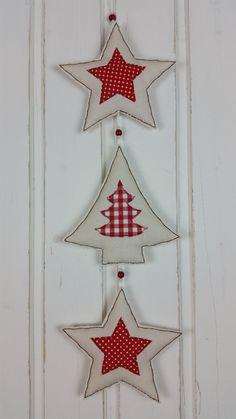 Weihnachtsdeko - Girlande * Sterne + Tannenbaum * Stoff Weihnachten - ein Designerstück von MARA-MELIEvonHerzen bei DaWanda