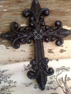 Black Cast Iron Wall Cross Wall Decor. $12.95, via Etsy.