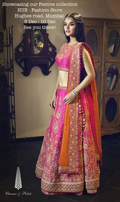 Chamee & Palak Pink Embroidered #Lehenga With Orange Dupatta.