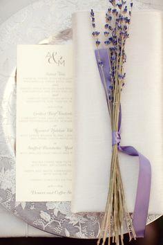Lavender garnished place settings. Floral Design by sadhnasfloralstudio.com