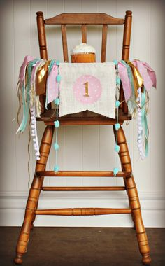 WINTER WONDERLAND birthday highchair age banner, pink & gold, Burlap flag, First…