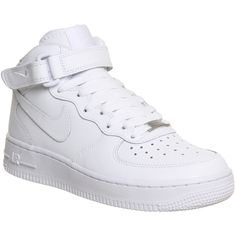 Nike Air Force 1 Mid Gs ($85) ❤ liked on Polyvore featuring shoes, sneakers, nike, white, office girl, women, white shoes, ankle tie shoes, ankle wrap shoes and leather trainers