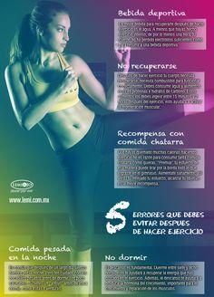 Infografía: 5 errores que debes evitar después de hacer ejercicio  #salud y #belleza