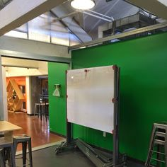 Mobile whiteboards (can also act as spatial partitions), from Stanford d School; also another idea for the workshop workspace