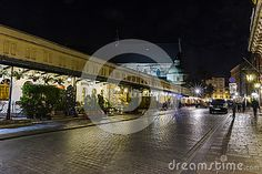 Stolarska Street in the old part of Krakow city in Poland. Europe. Street on which consulates are. Night photography.
