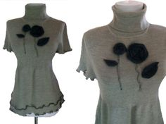 Felted Floral Sweater L by RebeccasArtCloset on Etsy