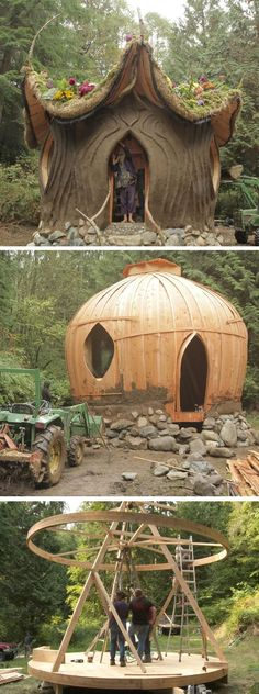 A mud & cob house designed by renowned natural builder and eclectic architect, SunRay Kelley built by Matteo Lundgren and Carolyn Peaches Lyon of Ithaca, NY, build