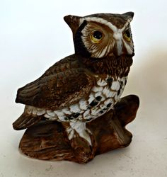 Owl Figurines Homeco Pair of Owls by FabulousFunFashion on Etsy